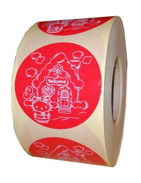 etichete rotunde rosii cu text alb 50mm pentru Craciun 2