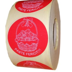 etichete rotunde rosii cu text alb 50mm pentru Paste 2