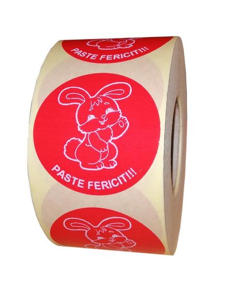 etichete rotunde rosii cu text alb 50mm pentru Paste