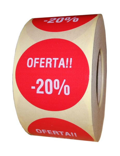 etichete rotunde rosii cu text alb 50mm pentru reduceri