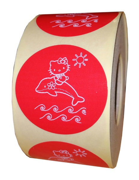 etichete rotunde rosii cu text alb 50mm pentru vara