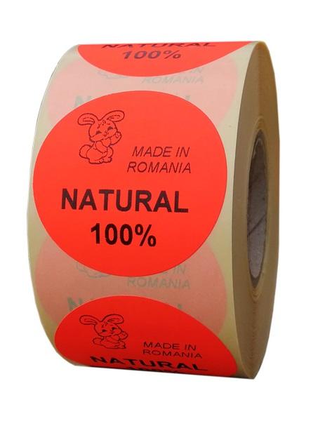 etichete rotunde rosii fluorescent text negru 50mm Bio 1