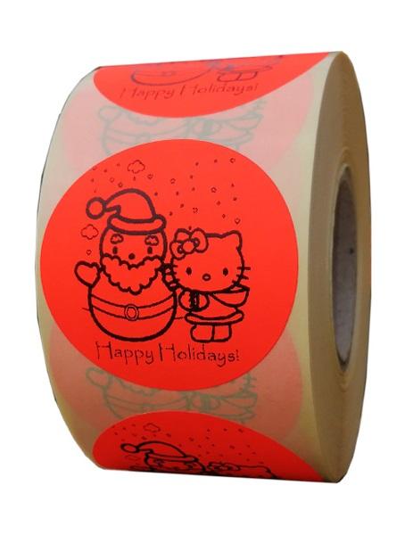 etichete rotunde rosii fluorescent text negru 50mm Craciun 1