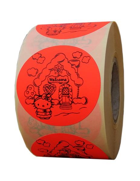 etichete rotunde rosii fluorescent text negru 50mm Craciun 2