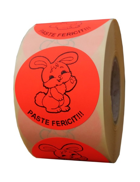etichete rotunde rosii fluorescent text negru 50mm Paste 1