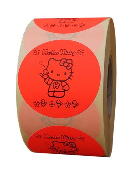 etichete rotunde rosii fluorescent text negru 50mm pentru vara