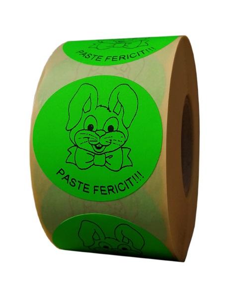 etichete rotunde verde fluorescent text negru 50mm Paste 1