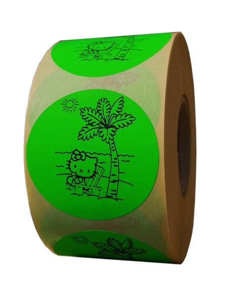 etichete rotunde verde fluorescent text negru 50mm Vara 1