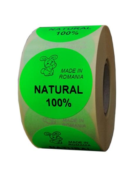 etichete rotunde verde fluorescent text negru 50mm bio 1