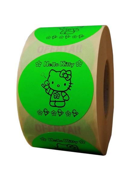 etichete rotunde verde fluorescent text negru 50mm general