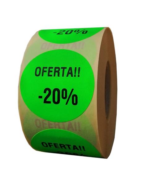 etichete rotunde verde fluorescent text negru 50mm oferta