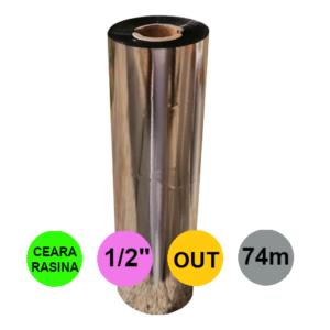 Ribon 110mm x 74m Out Ceara-Rasina Negru 0.5 inch