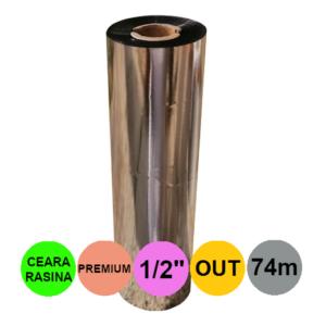 Ribon 110mm x 74m Out Ceara-Rasina Premium Negru 0.5 inch