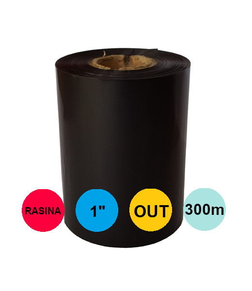 Ribon 60mm x 300m Out Rasina Negru 1 inch Entry Level
