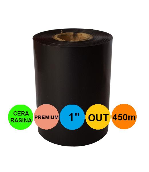 Ribon 80mm x 450m OUT Ceara-RASINA Premium Negru 1 inch