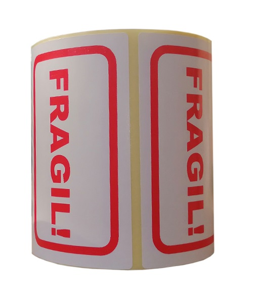 Role de etichete pentru colete fragile, 100x65mm, 1000 etichete in rola - o rola verticala 2