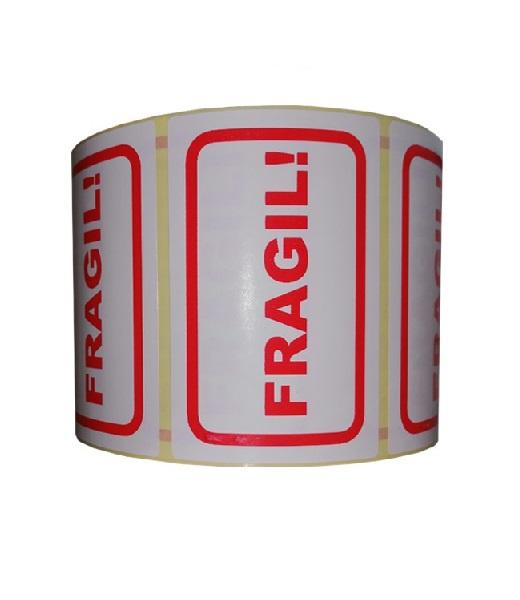 Role de etichete pentru colete fragile, 100x65mm, 1000 etichete in rola - o rola verticala