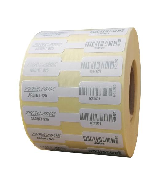 Role personalizate de etichete pentru bijuterii imprimate cu text argintiu, 63x13mm, 1000 etichete rola - 1 rola vertical