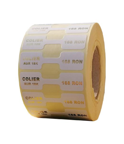 Role personalizate de etichete pentru bijuterii imprimate cu text auriu, 50x13mm, 1000 etichete rola - 1 rola vertical
