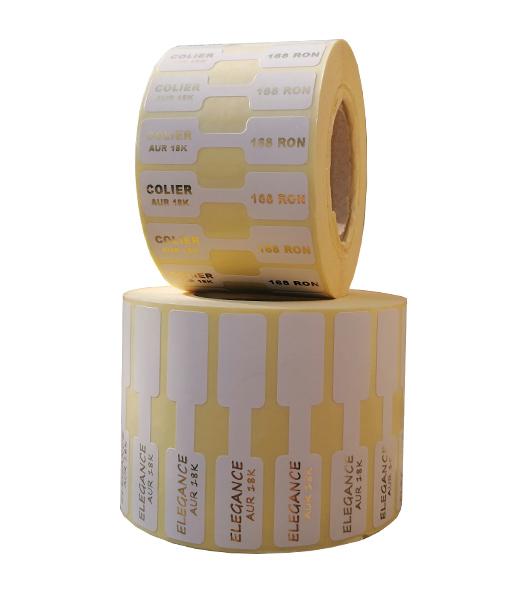 Role personalizate de etichete pentru bijuterii imprimate cu text auriu, 63x13mm, 1000 etichete rola - 2 role