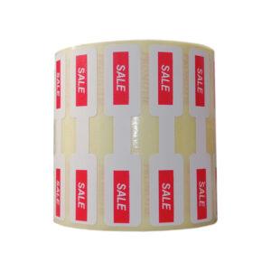 Role personalizate de etichete pentru bijuterii pentru promotii, 63x13mm, 1000 etichete rola - sale rola verticala 1