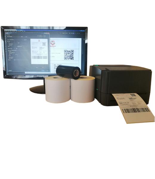Sistem complet de etichetare AWB AVANTAJ - role de etichete semilucioase autoadezive 100x150 imprimanta TSC TTP-244 PRO BarTender - sistem inchis