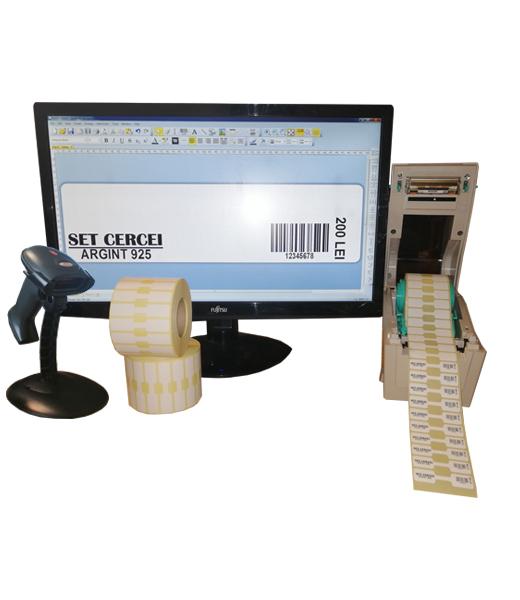 Sistem complet de etichetare bijuterii START-PLUS - imprimanta TSC TTP-244 PRO Scanner Godex GS220 Role de etichete bijuterii 50x13 Bartender - sistem deschis