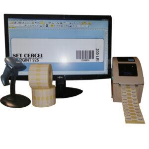 Sistem complet de etichetare bijuterii START-PLUS - imprimanta TSC TTP-244 PRO Scanner Godex GS220 Role de etichete bijuterii 50x13 Bartender - sistem inchis
