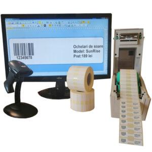 Sistem complet de etichetare bijuterii Start - imprimanta TSC TDP-225 Role de etichete bijuterii 50x13 Bartender Scaner coduri de bare - sistem deschis