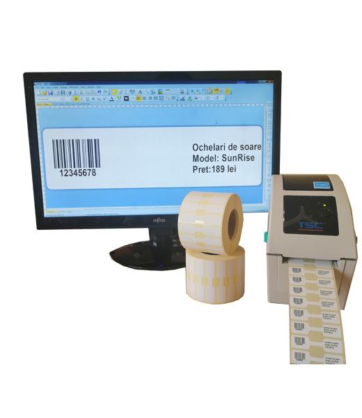 Sistem complet de etichetare bijuterii Start - imprimanta TSC TDP-225 Role de etichete bijuterii 50x13 Bartender - sistem inchis