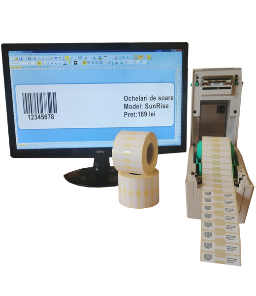 Sistem complet de etichetare pentru bijuterii Start - imprimanta TSC TDP-225 Role de etichete bijuterii 50x13 Bartender - sistemdeschis